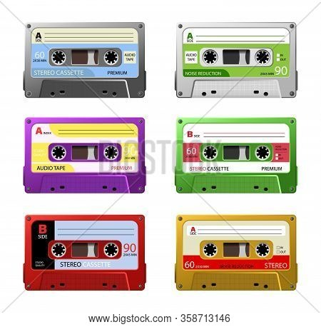 Collection Of Vintage Plastic Audio Cassette Tape.  Retro Mixtape, 1980s Pop Songs Tapes And Stereo