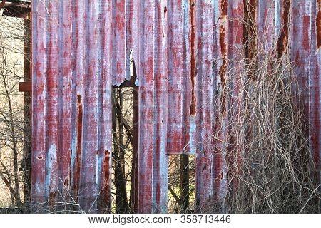 Old Metal Red Warehouse Building Broken Overgrown
