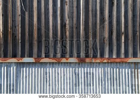 Vintage Weathered Old Metal Wood Warehouse Building