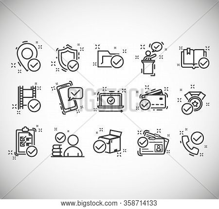 Set Of Checkmark Vector Line Icons, Contains Such As Check, Document And More. Included The Icons As