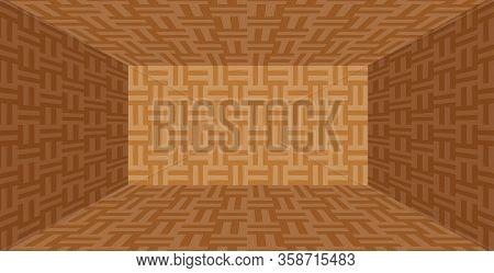 Parquet Wooden Room Empty In Top View For Background, Illustration Parquet Floor Box Shape, Parquet