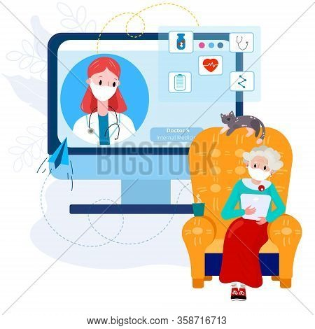 Telemedicine Doctor With Old Woman. Virtual Doctor Meeting With Senior Woman From Home For Therapy,