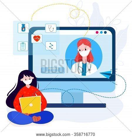 Telemedicine With Doctor. Virtual Doctor Meeting With Patient From Home For Therapy, Diagnose, Pills