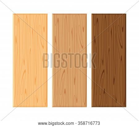 Wood Board Isolated On White Background, Planks Wood Brown Various Types Horizontal, Empty Wooden Pl