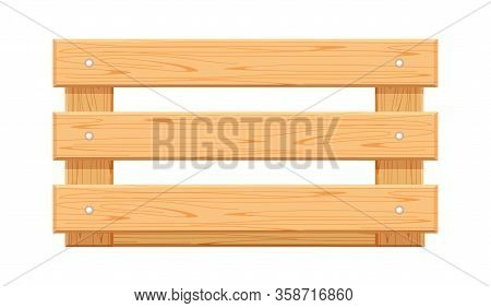 Wooden Crate Box Isolated On White, Empty Boxes Wood For Crate Storage, Front View Container Crate W