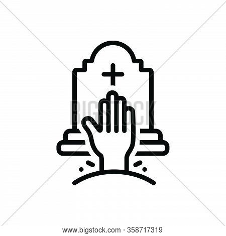 Black Line Icon For Horror Phobia Awe Graveyard Cemeteries Sheol Tombstone Halloween Spooky Grave