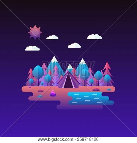 Vector Illustration In Trendy Flat Style And Bright Vibrant Gradient Colors. Beautiful Forest Scene.
