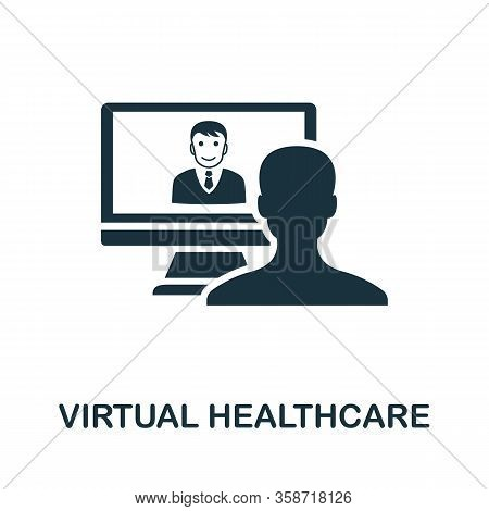 Virtual Healthcare Icon. Simple Element From Digital Healthcare Collection. Filled Virtual Healthcar