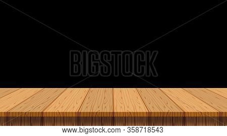 Wood Plank Empty Front View For Background And Copy Space, Blank Table Top Wooden Brown For Decorati