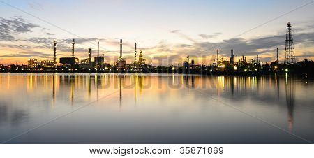 Panorama of Oil refinery at twilight time