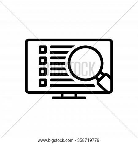 Black Line Icon For Detail Expansion Elaboration Analysis Discovery Inquire Inspect Magnifier Find