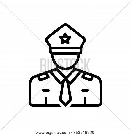 Black Line Icon For Guard Secure Enforcer Policeman Cop Protect Security Safety