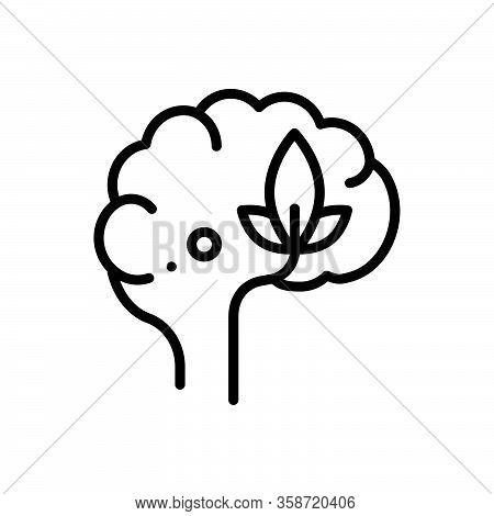 Black Line Icon For Psychology Head Optimistic Neurology Mind Brainstorm Cerebellum Memory
