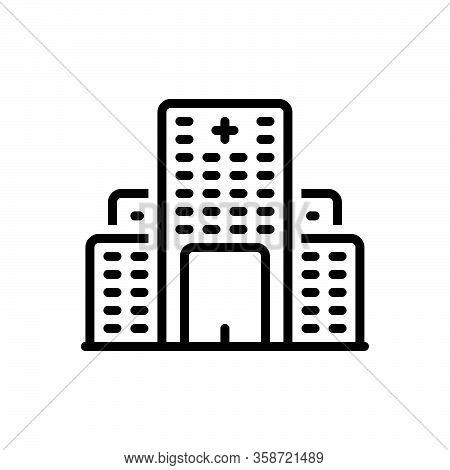 Black Line Icon For Hospital Asylum Clinic Lazaretto Emergency Nursing-home Medical Building