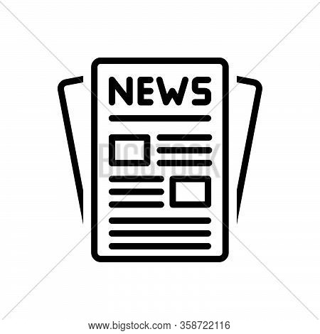 Black Line Icon For Publication News Release Issue Puffery Publicity Display Newspaper Article Magaz