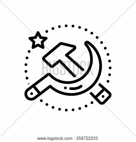 Black Line Icon For Soviet Communist Union Sickle Country Emblem Socialist Revolution