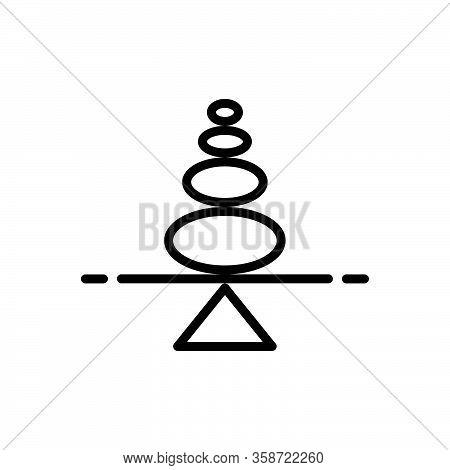 Black Line Icon For Steady Constant Fix Regular Balance Stones Arrange Position Reliable