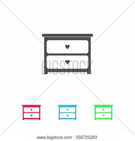 Dresser With Drawers Icon Flat. Color Pictogram On White Background. Vector Illustration Symbol And