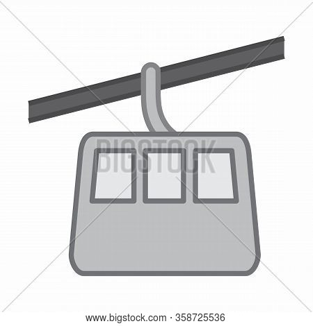 Aerial Tramway Icon Illustration On White Background.