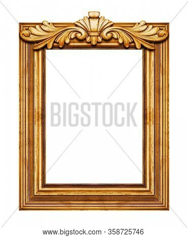 Wooden vintage frame isolated on white background, including clipping path