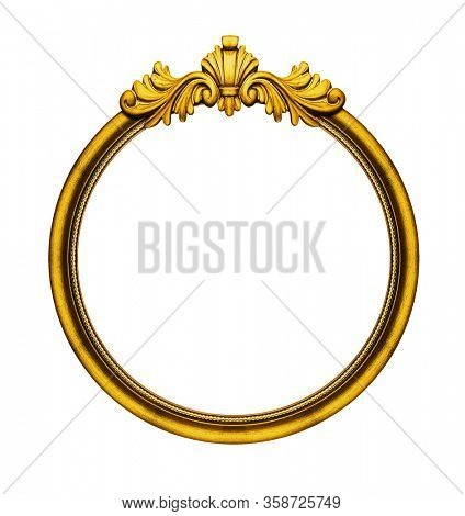 Round wooden vintage frame isolated on white background, including clipping path