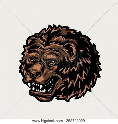 Vintage Colorful Ferocious Bear Head On Light Background Isolated Vector Illustration
