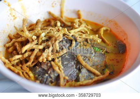 Noodles ,thai Noodles Or Beef Noodles With Fried Noodles