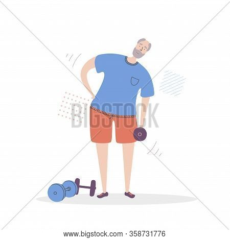 Flat Vector Illustration Senior Fitness. Smiling Grandfather Exercising With A Dumbbell. Active Life