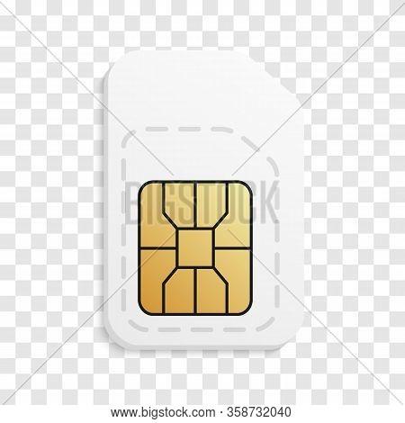 Empty 3d Mobile Sim Card. Realistic Phone Card.