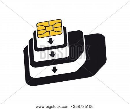 Esim To Nano, Nano To Micro, Micro To Normal Sim Card Adapters Icon. Phone Sim-card Converters Symbo