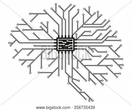 Computer Board In The Form Of A Human Brain In Black With A Processor. Abstract Illustration Of Scie