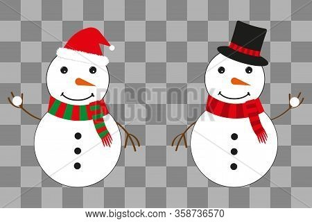 Two Snowmen In A Hat Of Santa Claus And A Magician's Hat. Snowballs In Hands. Christmas Illustration