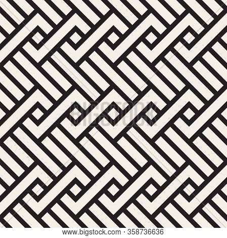 Vector Seamless Pattern. Decorative Geometric Interlaced Lines Design. Monochrome Bold Wavy Stripes