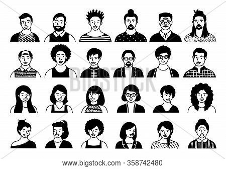 Hand Drawn Set Of Persons, Avatars, People Heads Of Different Ethnicity And Age In Flat Style. Multi
