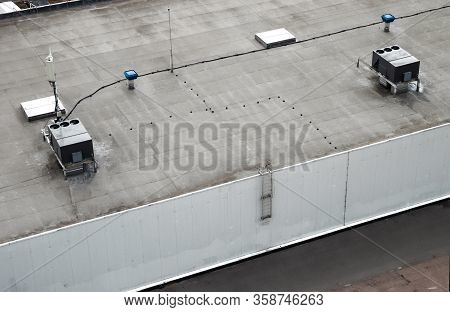 The External Units Of The Commercial Air Conditioning And Ventilation Systems Are Installed On The R