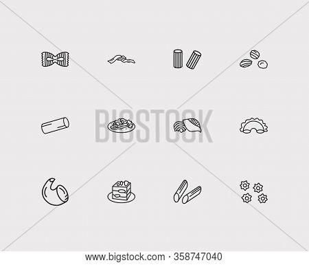 Cuisine Icons Set. Rigatoni Pasta Shape And Cuisine Icons With Cannelloni, Pasta And Shape. Set Of B