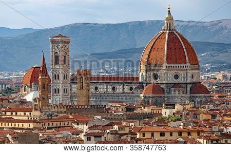 Large Dome Of The Duomo And The Bell Tower Of Giotto Of The City Of Florence In The Tuscany Region W