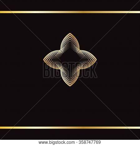 Golden Art Mandala. Luxury Golden Abstract Logo. Golden Ornament On Black Background. Golden Pattern