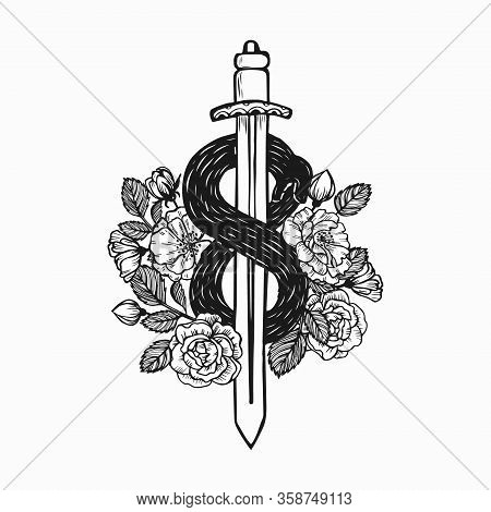 Snake-twined Sword Decorated With Roses. Self Eating Snake Twines Around Sword On White Background.