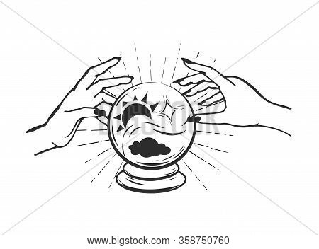 Magic Crystal Ball For Fortune Telling. Fortune Teller Hands Around Magic Ball For Prediction On Whi