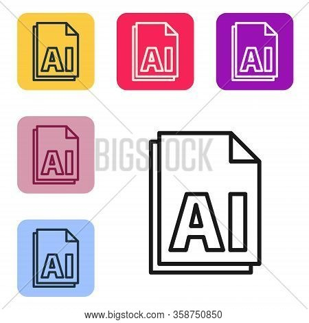 Black Line Ai File Document. Download Ai Button Icon Isolated On White Background. Ai File Symbol. S