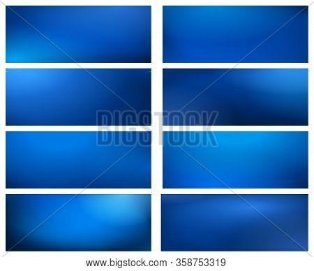 Blurry Business Blue Backgrounds. Vector Dark Blue Paint Gradient Texture Set, Plain Web Festival Bl