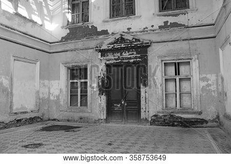 Old Destructive Building In Disrepair. Abandoned Building