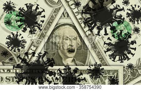 Emotional Yelling George Washington Surrounded By The Coronavirus