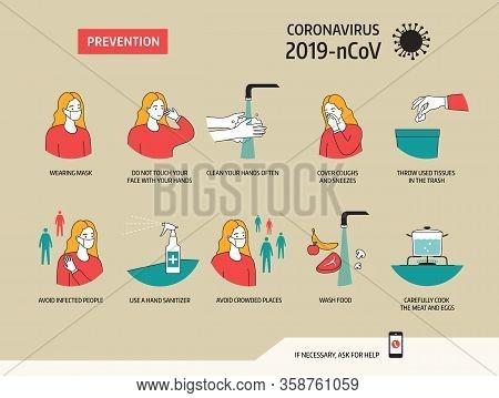 Prevention Of Coronavirus 2019-ncov. Vector Illustration Eps 10