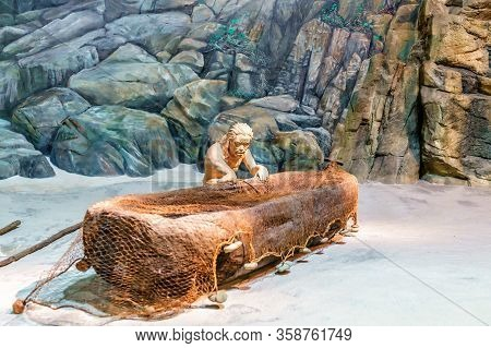Hong Kong, China - January 20, 2016: Exposition In Hong Kong Museum Of History Displays Primeval Lif