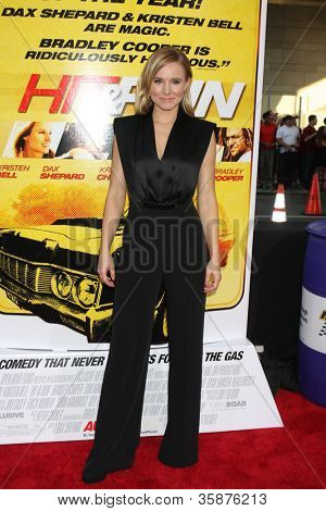 """LOS ANGELES - AUG 14:  Kristen Bell arrives at the """"Hit & Run"""" Los Angeles Premiere at Regal Cinema on August 14, 2012 in Los Angeles, CA"""