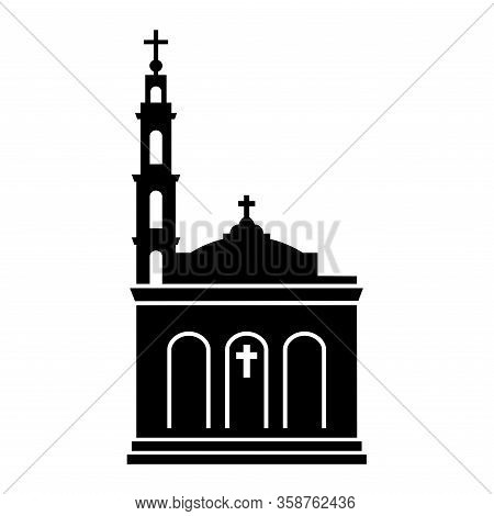 Vector Simple Black Silhouette Of Shrine Of Christ The King Catholic Church In Chicago (united State