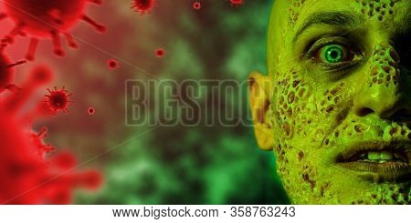 A close up portrait of a sick scientist after a failed experiment in the green light. desperation, hopelessness. Horror, halloween. Epidemic, viruses, healthcare.