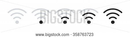 Wifi Signal Strength, Set Of Wi-fi Icons, Vector Illustration